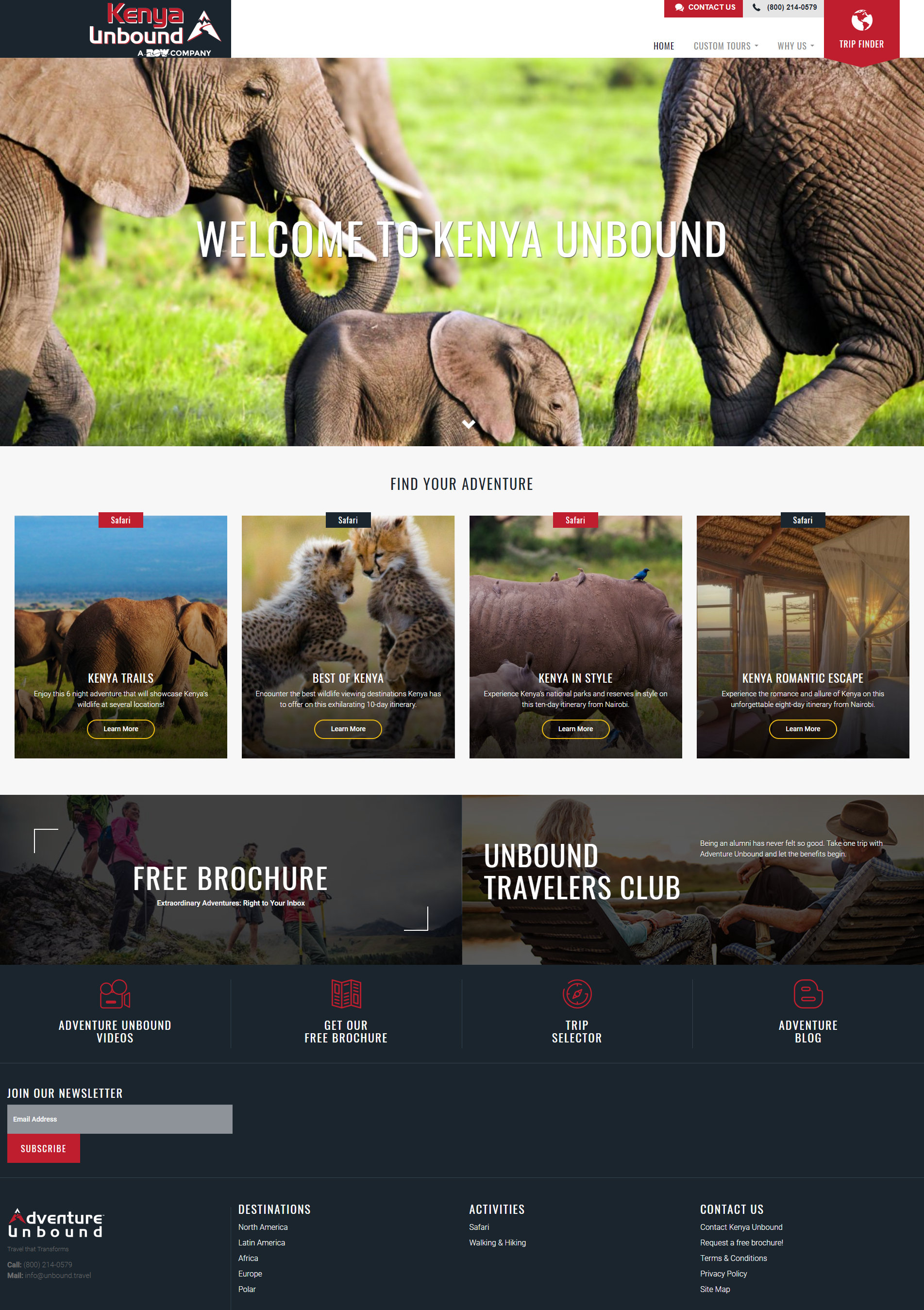 homepage design for safari outfitter