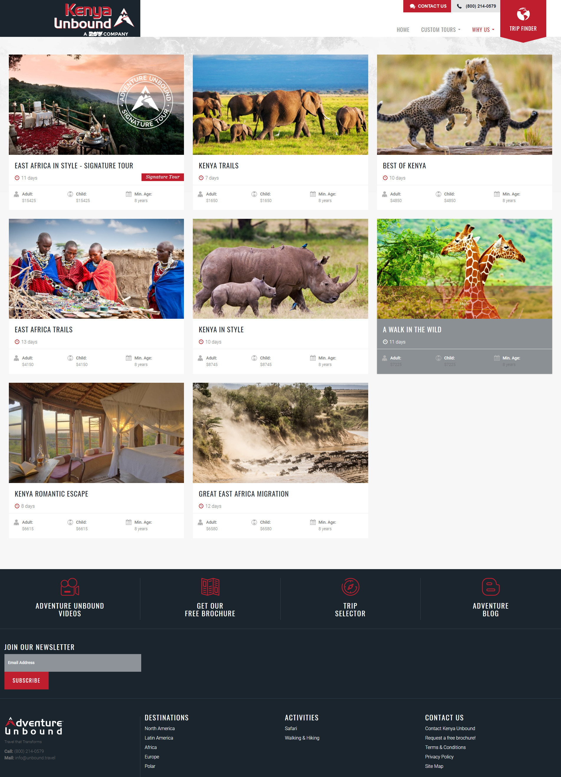 trip layout in the website design for safari tour operators